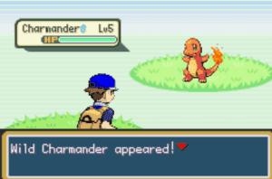 Boy in-battle sprite and wild charmander