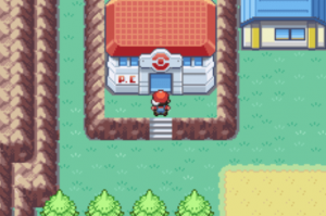 Entering the pokecenter in the game